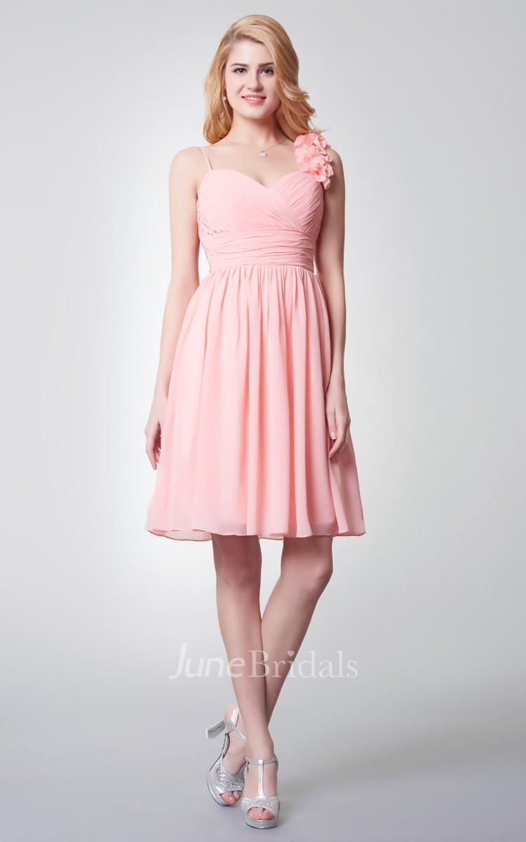 Sleeveless Empire Waist Short Chiffon Dress With Flower