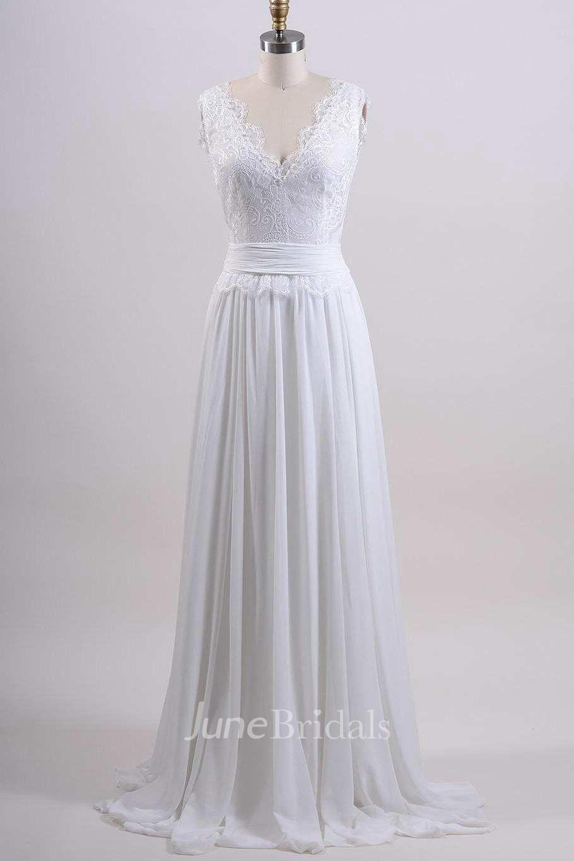 Chiffon tulle satin lace low v back wedding dress june for Satin low back wedding dress