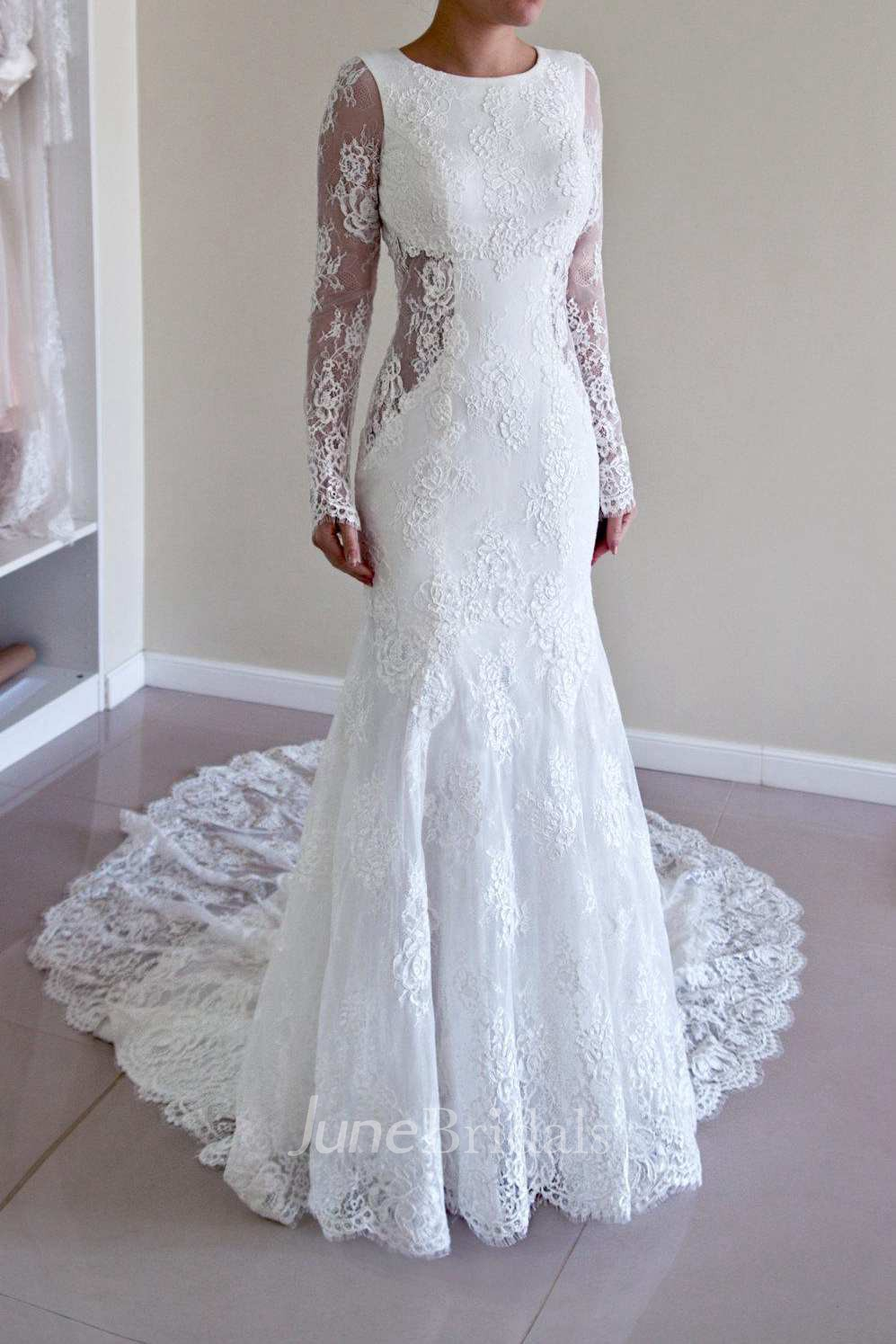 Scoop neck lace long sleeve backless wedding dress with for Cheap long sleeve lace wedding dresses