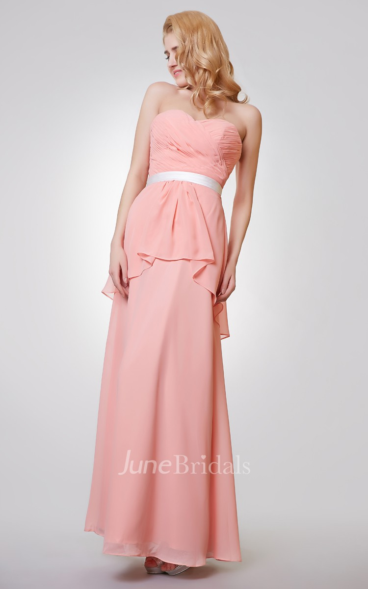Sweetheart Backless Ruched A-line Long Chiffon Dress - June Bridals