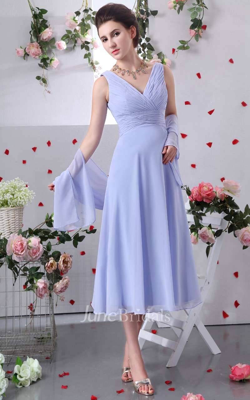 Tea length chiffon v neck dress with crisscross ruching for Mother of the bride dresses for casual summer wedding