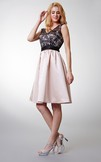 Cap-sleeved V-neck Short Satin Dress With Illusion and Bows