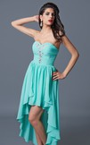 Sweetheart High Low Chiffon Formal Dress with Beading