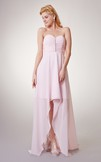 Unique Sweetheart Chiffon High-Low Dress With Beading