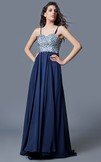 Sweetheart A-line Long Chiffon Dress With Beading Bodice