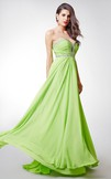 Elegant Strapless Pleated Chiffon Dress With Beaded Sweetheart Neckline and Empire Waist