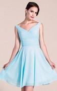 Sleeveless V-neck Knee-length Bridesmaid Dress With Pleats