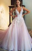 Gorgeous Sleeveless V-Neck 2016 Prom Dress Tulle Appliques