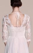 Long Sleeved V-neck A-line Short Wedding Dress