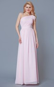 Sleeveless One Shoulder Ruched Chiffon Gown With Sash
