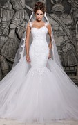 Magnificent Tulle Mermaid Lace Wedding Dress with Wedding Veil