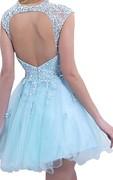 Elegant Sleeveless SHort Tulle Homecoming Dress Lace Appliques