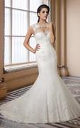 Cap Sleeve Mermaid Lace Long Wedding Dress