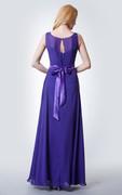 Illusion Neck A-line Chiffon Bridesmaid Dress with keyhole Back