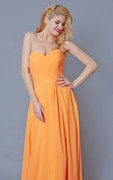 Showy Sleeveless Chiffon Gown With Pleats