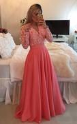 A-line V-neck Long Sleeve Beading Appliques Chiffon Lace Dress