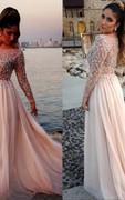 Glamorous Long Sleeve Beadings Prom Dresses 2016 Long Chiffon