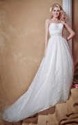 Brilliant Strapless Deep V-back Tulle Wedding Gown