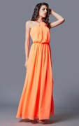 A-line Sleeveless Pleated Chiffon Gown With Beaded Detail Neckline