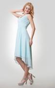 High-Low Chiffon Sleeveless V-Neck Dress With Ruching