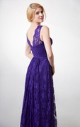 Country Style V-neck Long Lace Bridesmaid Dress