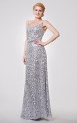 Sexy Spaghetti Straps A-line Sequined Gown With Draped Back