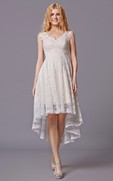 Sleeveless High Low Lace Bridesmaid Dress With V Neck