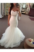 Sweetheart Ruched Beaded Empire Mermaid Tulle Gown With Backless