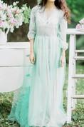 Two-Tone V-Neck Balloon Sleeve Tulle Dress