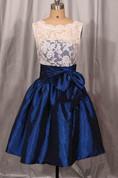 Short Lace&Taffeta Dress With Bow