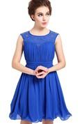 Sleeveless Appliqued Pleated Bodice Short Ruffled Chiffon Dress