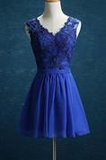 Short Knee-length V-neck Chiffon&Lace&Satin Dress