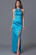 Fabulous V-cut High Neck Long Satin Dress With Side Slit
