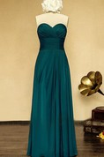 Long Strapless Sweetheart Chiffon and Satin Dress