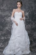 Sleeveless Ruffled Sheath Organza Gown(Cape Not Included)
