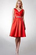 Criss-cross Bodice Knee-length A-line Satin Dress With Shiny Sash