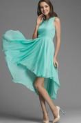 Asymmetrical Bow Belt Chiffon Bridesmaid Dress