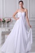 Strap One-Shoulder Sweetheart Ruched Dress with Beadings and Zipper Back