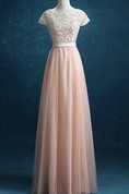 2016 New Prom Lace Tulle Long Prom Tulle Formal Blush Tulle Party Floor Length Dress