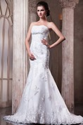 Dramatic Siren Strapless Dress With Lace Embellishment