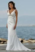 Sexy V Neck Sheath Column Sweep Train Beaded Beach Wedding Dresses