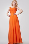 Cap Sleeve Long Chiffon Bowed and Ruched Dress