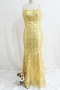 Gold Sequined Mermaid Prom Dress