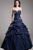 Sweetheart Satin Pick-Up Ball Gown with Rhinestone