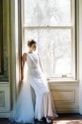Jewel Sleeveless Lace Pencil Dress With Detachable Train