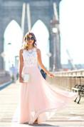 Sweeth Lace Long Sleeveless Prom Dresses 2016 Chiffon Floor Length