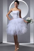 Strapless Midi Dress With Crystal Detailing And Ruffles