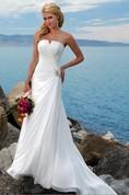 Sheath Column Strapless Chiffon Wedding Dress