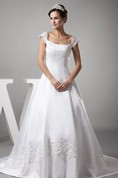 Caped-Sleeve Satin A-Line Gown with Appliques