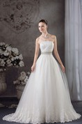 Strapless Tulle Jeweled Gown with Appliques and Corset Back